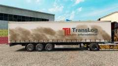 Haut Trans Log auf einem Vorhang semi-trailer