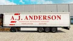 Haut A. J. Anderson auf einen Vorhang semi-trail