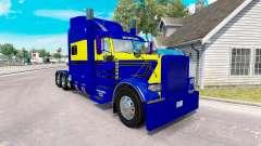 Haut, Blau-gelb für die truck-Peterbilt 389