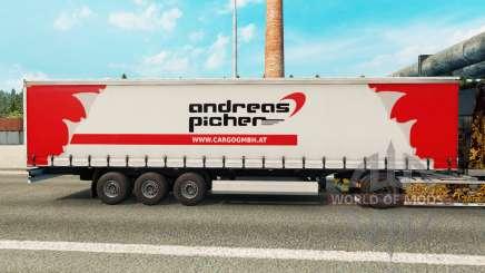 La peau Andreas Picher sur un rideau semi-remorque pour Euro Truck Simulator 2
