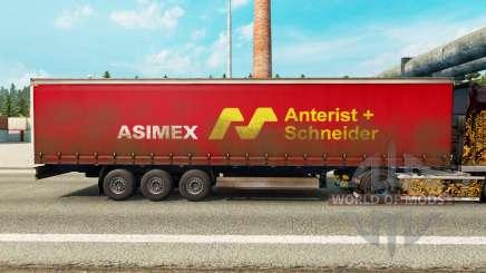 La peau Asimex sur un rideau semi-remorque pour Euro Truck Simulator 2