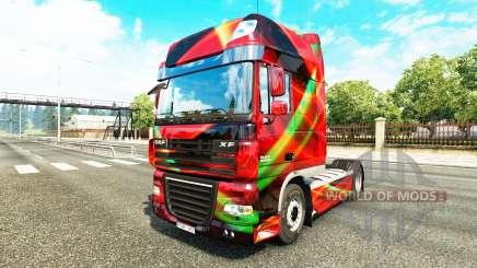 Rouge Effet peau pour DAF camion pour Euro Truck Simulator 2