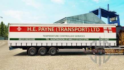 La peau H. E. Payne Transport sur semi-remorque-rideaux pour Euro Truck Simulator 2