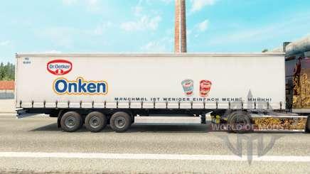 La peau du Dr Oetker Est sur un rideau semi-remorque pour Euro Truck Simulator 2