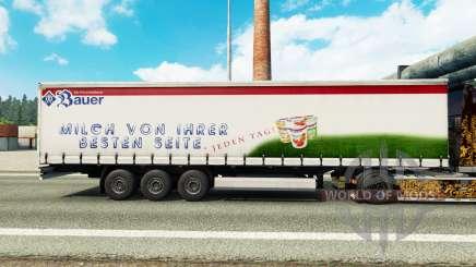 La peau Bauer sur un rideau semi-remorque pour Euro Truck Simulator 2