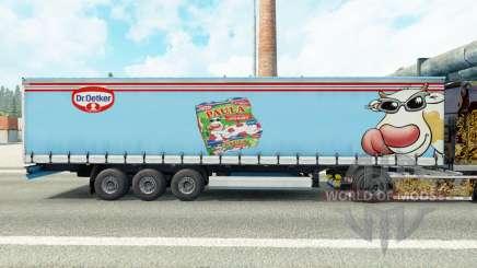 La peau du Dr Oetker Paula sur un rideau semi-remorque pour Euro Truck Simulator 2