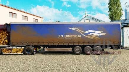 La peau de J. S. Logistik AG sur un rideau semi-remorque pour Euro Truck Simulator 2