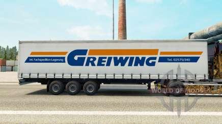La peau Greiwing sur un rideau semi-remorque pour Euro Truck Simulator 2