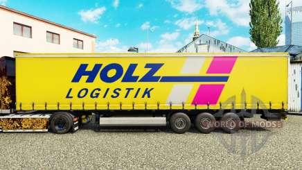 La peau Holz Logistik sur un rideau semi-remorque pour Euro Truck Simulator 2