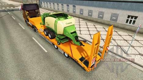 Low-frame Schleppnetzen Fliegl mit der Ballenpre für Euro Truck Simulator 2