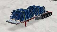 Quatre essieux de la semi-remorque à plate-forme