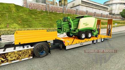 Low-frame Schleppnetzen Fliegl mit der Ballenpresse für Euro Truck Simulator 2