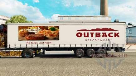 La peau de l'Outback Steakhouse sur un rideau semi-remorque pour Euro Truck Simulator 2