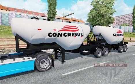 Double semi-remorque-camion de ciment pour Euro Truck Simulator 2